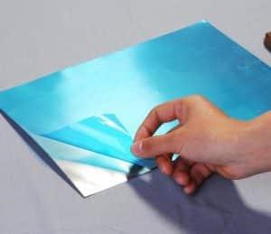 نایلون چسب دار آبی روی ورق آلومینیوم