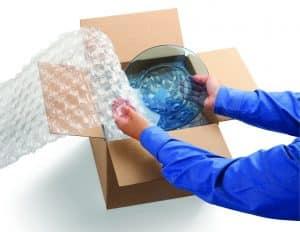 بسته بندی بشقاب با پلاستیک حبابدار